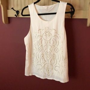 Ivory Embroidered Tank Top